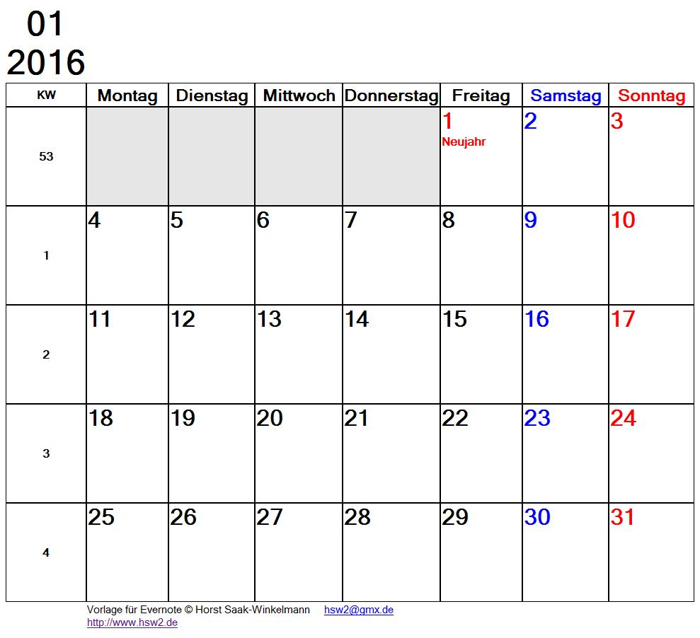 Evernote Notiz mit Kalender